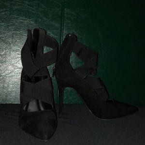 Black Suede Wrap Around Strap Heels